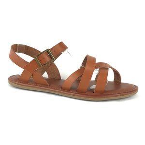 MIA Karisa Strappy Sandal Flat Cognac Brown 9.5